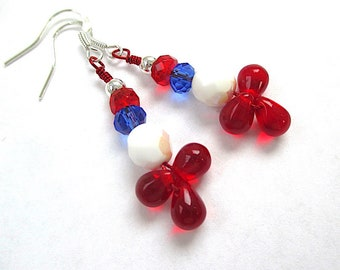 Red White & Blue Earrings, July 4th, All American Holidays, Independence Day, USA Flag Day, Gift for Patriotic Women, Funky Fun for Her E514