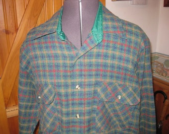 Vtg Sears Mens Green/ rust  plaid wool blend soft shirt great vtg Sears 70s shirt lg free ship