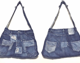 Stylish, dark to light blue denim tote bad with pocket detailing