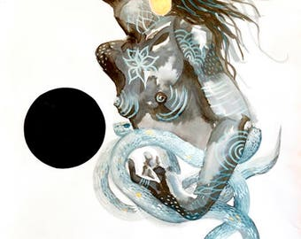 Black Moon Art Print A4