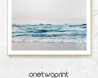 Ocean Waves Printable, Beach, Waves, Ocean Art, Large Wall Art, Blue Wall Art, Beach Decor, Wave Print, Ocean Photography, Blue Sea Wall Art
