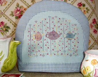 Teapots Flowers Cross Stitch Pattern Three For Tea