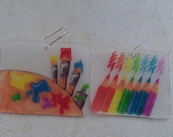artist palette earrings