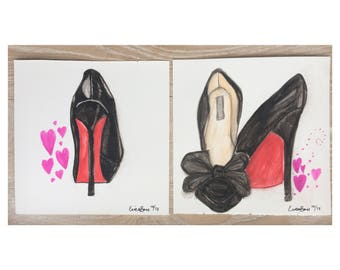 Louboutin high heels watercolor painting, fashion art painting, Louboutin Black Pumps watercolor painting