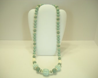 "Vintage 28"" SAGE BEADED NECKLACE (9784)"