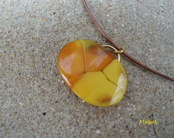 Yellow and Brown Choker necklace, marbled bead, wedding