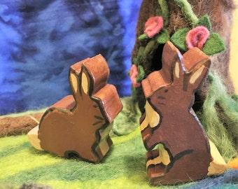 Handmade Wooden Bunnies - Set of 2 - Waldorf/Montessori Inspired Toys