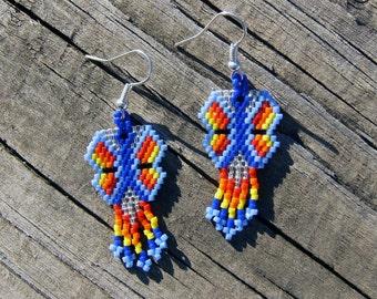 Handmade beaded butterfly earrings