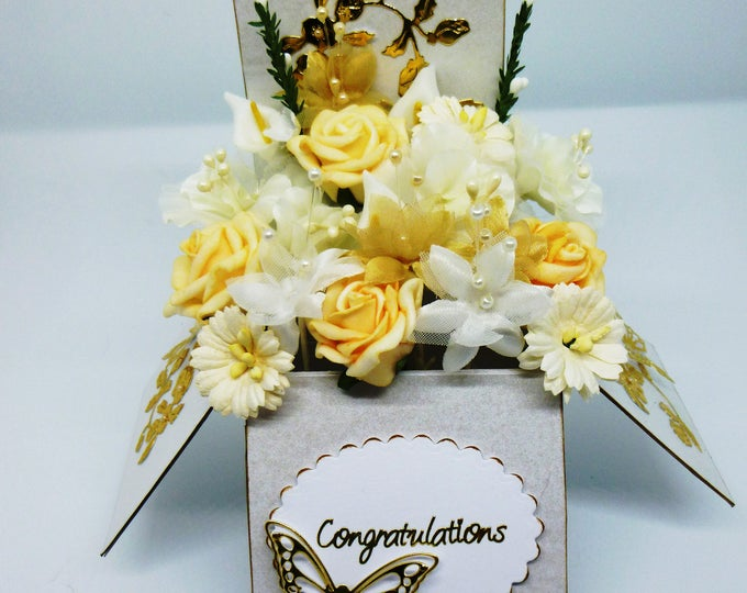 Exploding Box Card, Wedding Box Card, Anniversary Card, Special Birthday Card, White and Yellow Flowers,