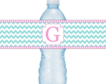 Wedding Monogram Water Bottle Labels - CUSTOM Printable Chevron Water Bottle Labels, YOU print, you cut, DIY water bottle labels