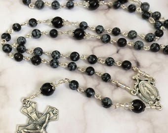 Snowflakes Obsidian with Black Onyx gemstone Catholic Rosary with Miraculous Medal