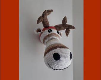 Reindeer - crocheted deer head - deco trophy room
