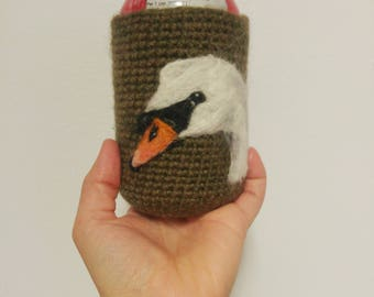 Swan can cozy Needle felted cooler