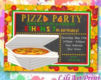 Pizza Party birthday invitation, pizza invite, pizza party birthday party, Digital file(17)