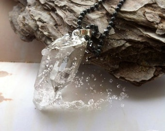 Crystal Quartz Point Necklace Silver plated - OOAK -Waterfall