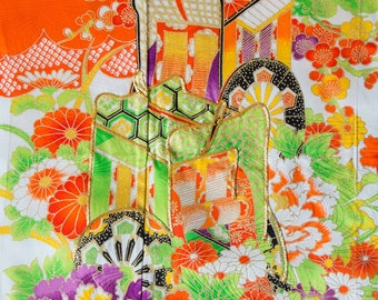 Orange and Gold // Traditional Florals // Vintage Kimono Fabric // Last Piece!