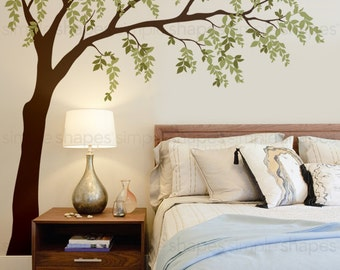 Weeping Willow Tree Decal with leaves, Willow Tree Wall Decal, Leaves Wall Decal, Baby Nursery Wall Decal, Nursery Design