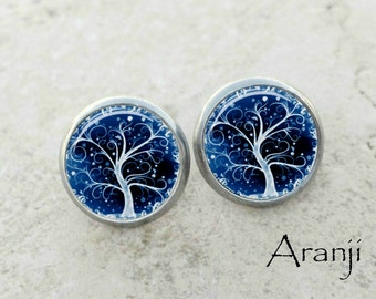 Blue curly tree earrings, tree earrings, blue tree stud earrings, tree stud earrings PL159E