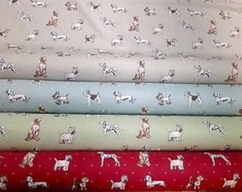 Dog's best in show 100% cotton upholstery fabric 4 colours curtains