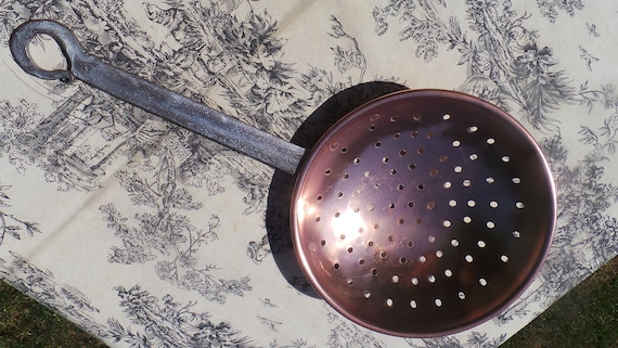 Antique Solid Copper Sieve Strainer Pan Hand Made Cast Iron Handle - Very Unusual - Ideal for Spaghetti Copper Colander Copper Sieve