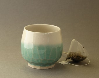 Facetted teabowl Celadon dip glossy glaze handthrown ceramic drinking vessel Gift for Her or Him Peaceful Tranquil Unique