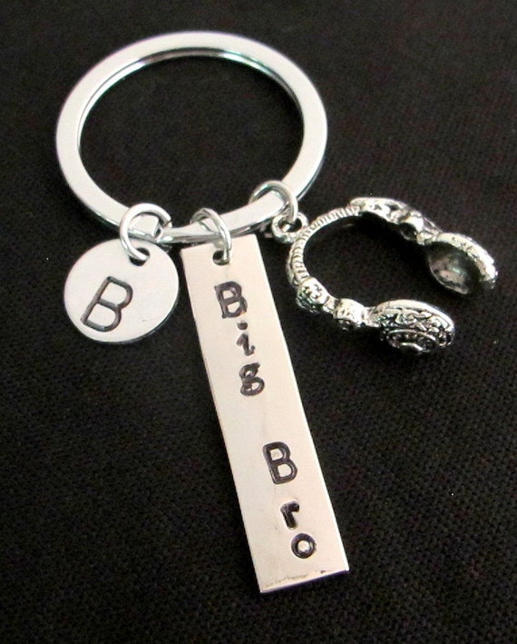 Brother's Gift Brother Keychain, Brother Keyring, Personalized Brother's Keychain,Headset, headphones keyring bag charm Free Shipping USA
