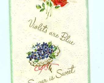 Vintage Roses Are Red Sugar Is Sweet Birthday Greeting Card 1960s Sunshine Card