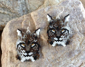 Bobcat Peyote Beaded Earrings