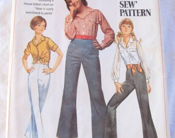 vintage SIMPLICITY 8009 sewing pattern-- Juniors and Misses Shirt and Bell Bottom Pants-- Young Junior/Teen size 13/14 --(1968)