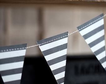 Black and White Stripe Party Banner - Black and White Stripe Banner - Stripe Banner - B & W Garland -Black and White Stripe Pennant Banner