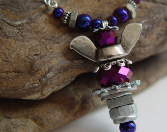 Dark Reflective Deep Purple Beaded Antique Silver Upcycled Wing Nut Angel Necklace