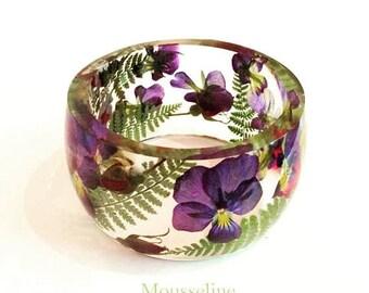 Sale 20% Rabais Large flower bangle, flower bracelet, fern bangle, woodland bracelet, botanical bangle, botanical bracelet, pansy bracelet