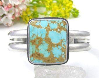 Royston Turquoise Cuff Bracelet - Sterling Silver Turquoise Cuff Bracelet - Royston Turquoise Cuff - Rustic cuff bracelet
