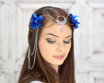 SIlver Moon Elven Crown, Blue Moon Headdress, Flower Crown, Fantasy Headpiece, Goddess Headdress, Cosplay, Costume Headpiece, Fairy