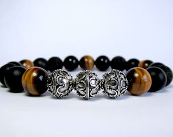 Mens Bracelet, Beaded Bracelet, Bracelet for Men, Mens Silver Bracelet, Mens Beaded Bracelet, Onyx Bracelet, Tiger Eye Bracelet