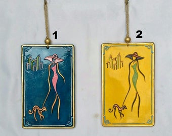 Embossed Ceramic Wall Hanging Art, walking, decorative