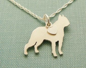 Boston Terrier Dog Necklace, Sterling Silver Personalize Pendant, Breed Silhouette Charm, Resue Shelter, Mothers Day Gift