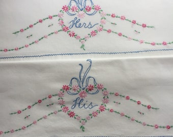Vintage pillowcases pair with His and Hers