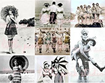 Beach Babes,  Printable Collage Sheet (digital download, printable)