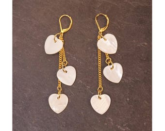 Earrings, Pearl, gold chain hearts