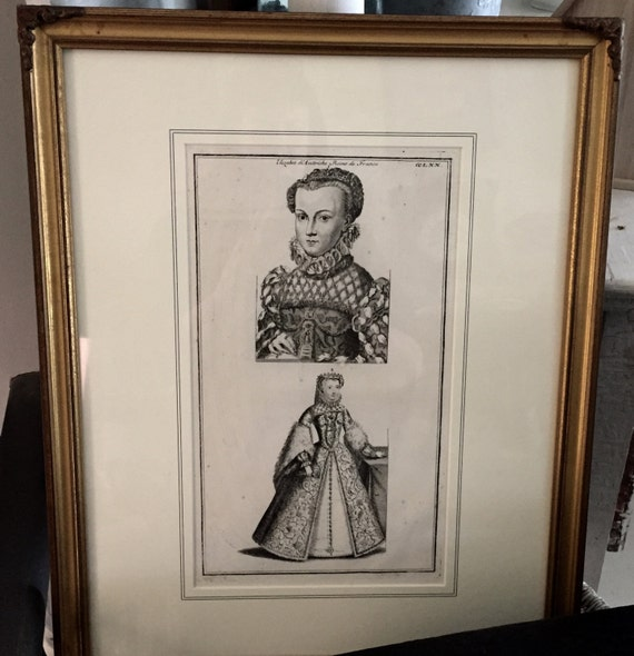 Antique French Queen prints, 1 Framed Print, Antique. French.