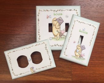 Classic Winnie the Pooh light switch plate cover baby nursery Personalized // SAME DAY SHIPPING**