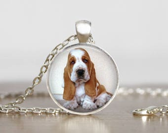 Basset Hound Puppy Pendant Necklace or Keychain