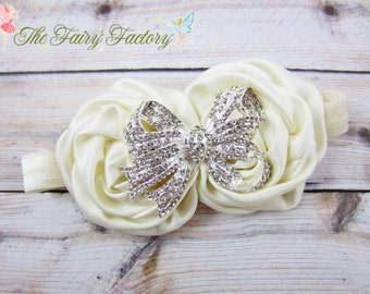 Ivory Flower Headband, Ivory Satin Rosette Duo w/ Rhinestone Bow Headband, Baptism, Christening, Wedding, Baby Toddler Child Girls Headband