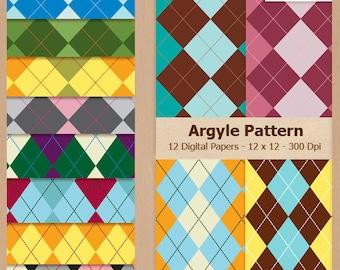 Digital Scrapbook Paper Pack - ARGYLE - Instant Download