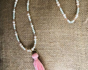 White and pink tassel necklace