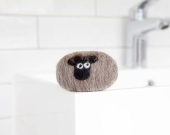 Felted soap - Shetland sheep. Enriched with lanolin and wrapped in British wool. Naturally exfoliating and antibacterial