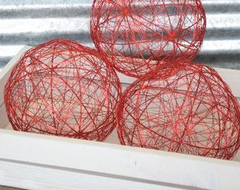 Decorative Wire Balls - 6 Inch Red