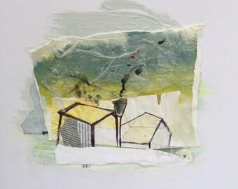 Fine art, Urban, Landscape, Roof, House, Original painting, Contemporary art, Litter #2