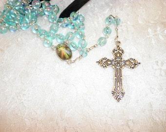 Blue Ocean Blue Crystal Rosary Beads